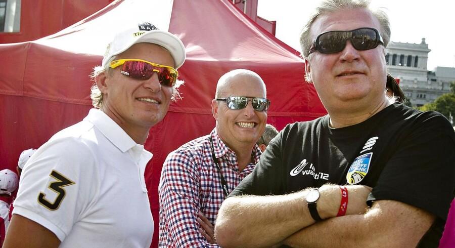 Arkivfoto: Oleg Tinkov, Bjarne Riis og Lars Seier Christensen.