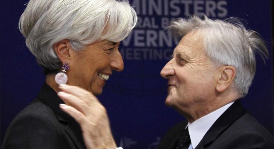 Den Internationale Valutafonds præsident, Christine Lagarde, og præsidenten for Den Europæiske Centralbank, Jean-Claude Trichet.