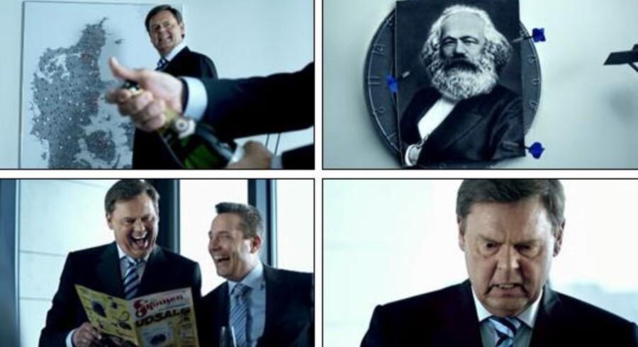 TV-reklame for Skousen med blandt andre Ulf Pilgaard.