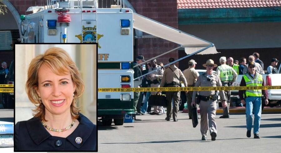 Gabrielle Giffords og 22 andre blev skudt ved et politisk møde foran dette supermarked i Tucson, Arizona.