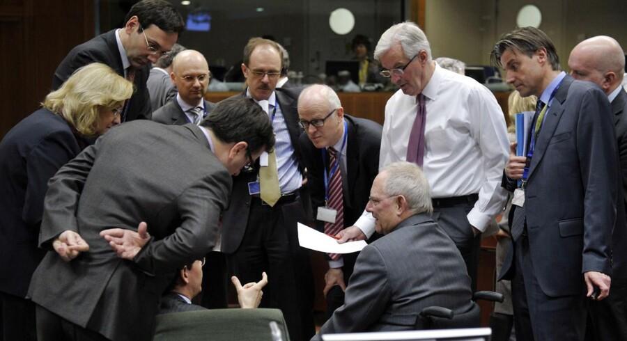 Eurogruppens finansministre - her til et møde d. 5. marts - begik ifølge mange økonomer den største politiske fejltagelse i lang tid i sidste weekend.