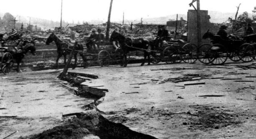 Det store jordskælv i San Francisco i 1906 havde meget mere voldsomme konsekvenser end det skælv, som tirsdag morgen rystede Østdanmark.