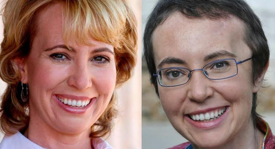 Gabrielle Gliffords før og efter attentatforsøget, hvor enkugle gik gennem hendes hovede.