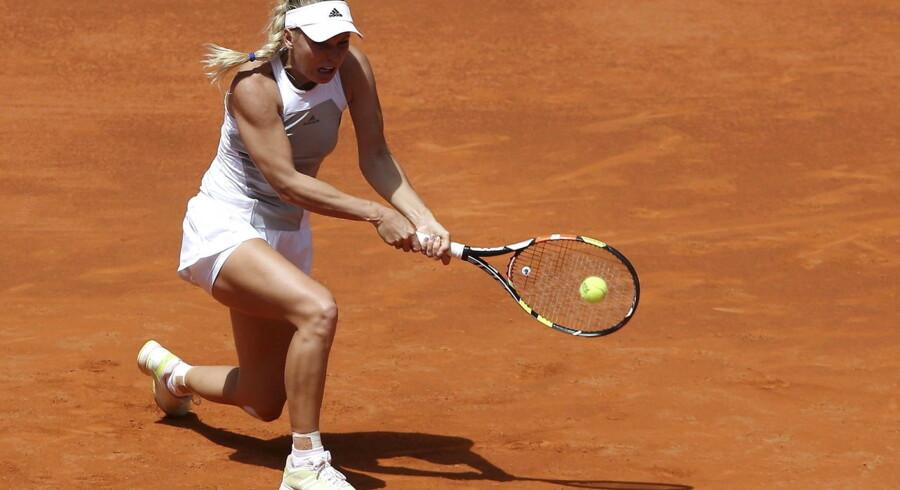 Caroline Wozniacki i aktion ved Mutia Madrid Open.