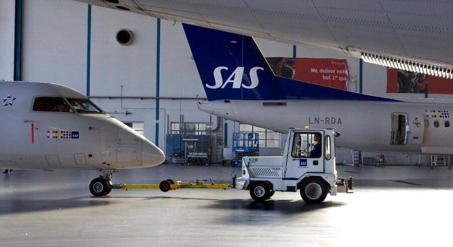 Flyselskabet SAS kom ud af 2011 med et underskud før skat på cirka 1,4 milliarder kroner, viser årsregnskabet. Arkivfoto