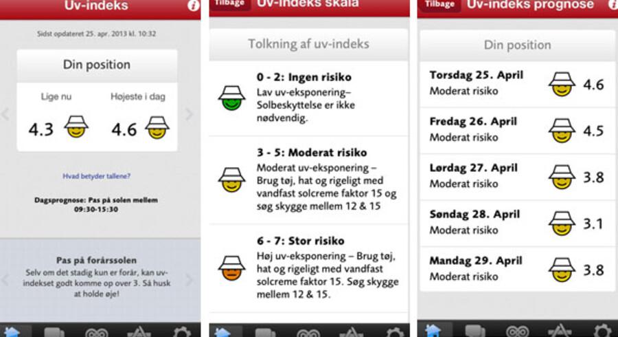 Skærmbilleder fra den nye app, som viser det lokale UV indeks der, hvor du befinder dig.