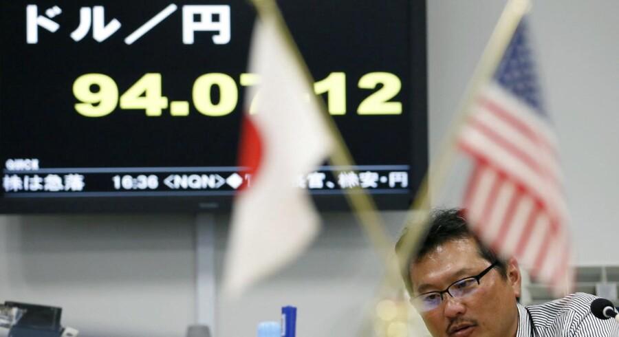 Styrkelsen af yen medførte et fald for de japanske aktier udtrykt ved et minus på 6,4 pct. i Nikkei-indekset.