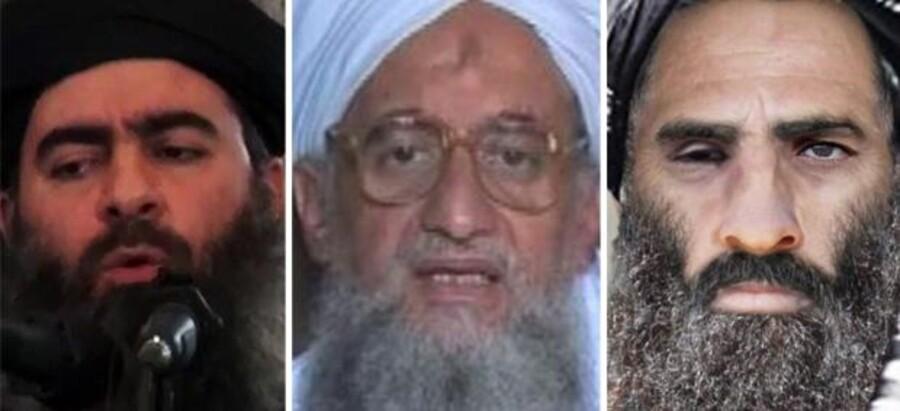 Islamisk Stat (IS) med den selværklærede kalif Abu Bakr al-Baghdadi (tv.) i spidsen har held til at stjæle mediefladen fra al-Qaeda. Som et modsvar har al-Qaeda-lederen Ayman al-Zawahiri (midten) udfordret IS ved at omtale Mullah Omar (th.) som overhoved for den sunnimuslimske verden.