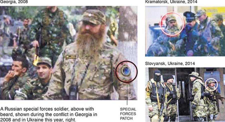 Billeder fra New York Times viser en russisk agent i Georgien i 2008, som angiveligt befandt sig i Kramatorsk og Slavjansk i år.