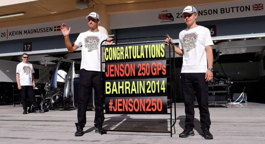 Jenson Button og Kevin Magnussen kører for det samme team i Formel 1, McLaren.