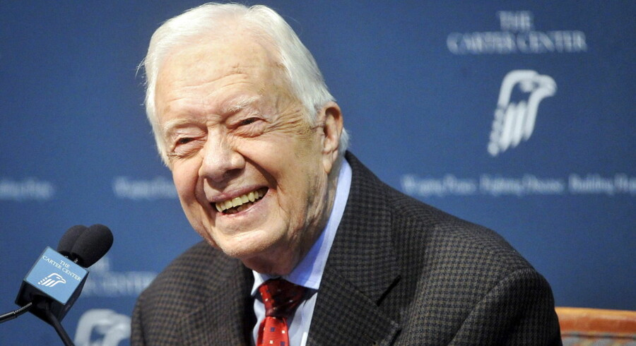 Former U.S. President Jimmy Carter takes questions from the media during a news conference about his recent cancer diagnosis and treatment plans, at the Carter Center in Atlanta, Georgia, in this file photo taken August 20, 2015. Carter told a Sunday School class at his church in Georgia that his cancer was gone, the Atlanta Journal-Constitution reported on Sunday, citing a church member. REUTERS/John Amis/Files