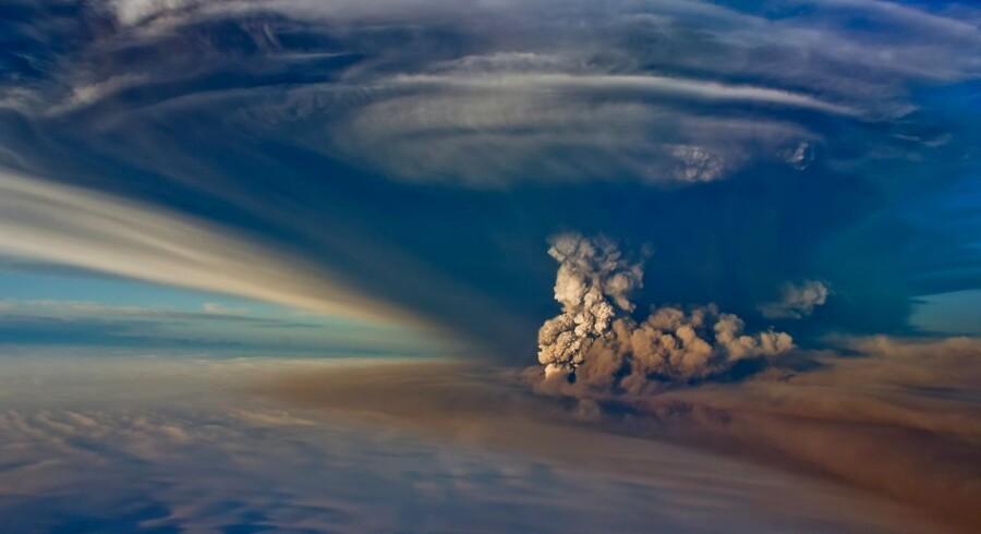 Luftfoto viser udbruddet fra vulkanen Grimsvötn i det sydøstlige Island.