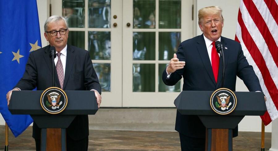 Den amerikanske præsident var i strålende humør og særdeles positivt stemt over for Den Europæiske Union, da han på Twitter lavede sin egen evaluering af det møde, han onsdag holdt med EU-Kommissionens formand, Jean-Claude Juncker, i Det Hvide Hus. Det skriver Ritzau, torsdag den 26. juli 2018. (Foto: Evan Vucci/Ritzau Scanpix)