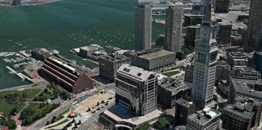 Apple har købt firmaet 3C Technologies, som laver 3D-kort. Her en 3D version af Boston, USA.