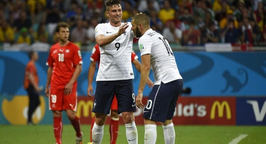 Både Giroud og Benzema kom på tavlen mod Schweiz.