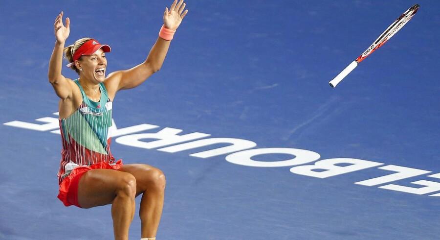 Tysklands Angelique Kerber fejrer sejren.
