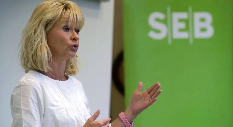 Svenske SEB har haft et rigtig godt fjerde kvartal i den danske del af forretningen. Her bankens koncernchef, Annika Falkengren, ved præsentationen af halvårsregnskabet.