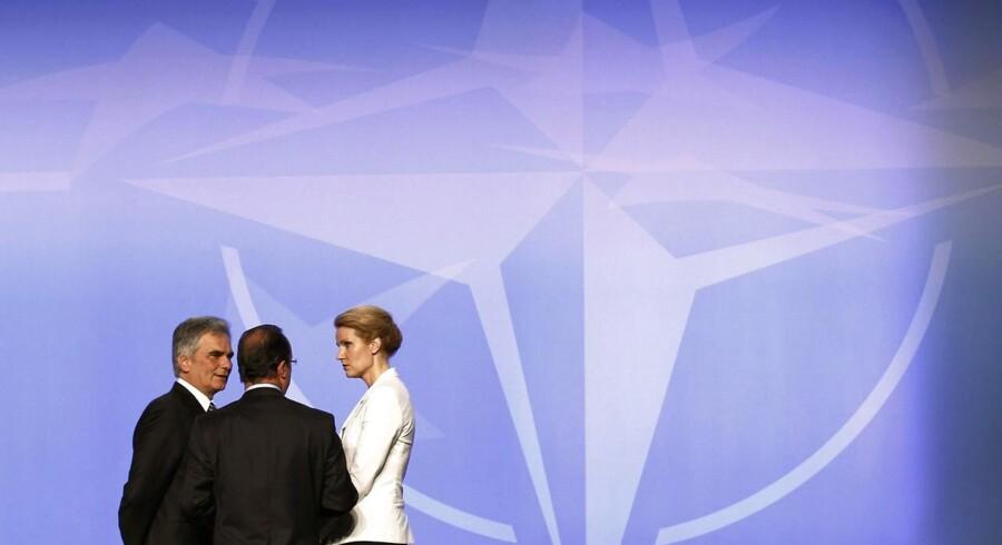 Fra seneste NATO-topmøde - i Chicago i maj 2012. Østrigs præsident Faymann, Frankrigs præsident Hollande og Danmarks statsminister Thorning-Schmidt.