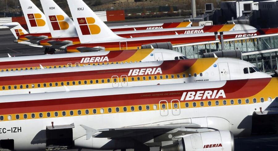 Piloter hos flyselskabet Iberia har varslet strejke fra den 29. december. Billedet er fra Madrids lufthavn d. 18. december.