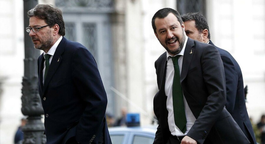 Lega Party's delegation composed by Giancarlo Giorgetti (L), Matteo Salvini (C) and Gian Marco Centinaio (R) arrive for the meeting with Italian President Mattarella for a second round of formal political consultations following the general elections, in Rome, Italy, 12 April 2018. Mattarella is holding another round of formal political consultations following the 04 March general election in order to make a decision on to whom to give a mandate to form a new government. EPA/RICCARDO ANTIMIANI