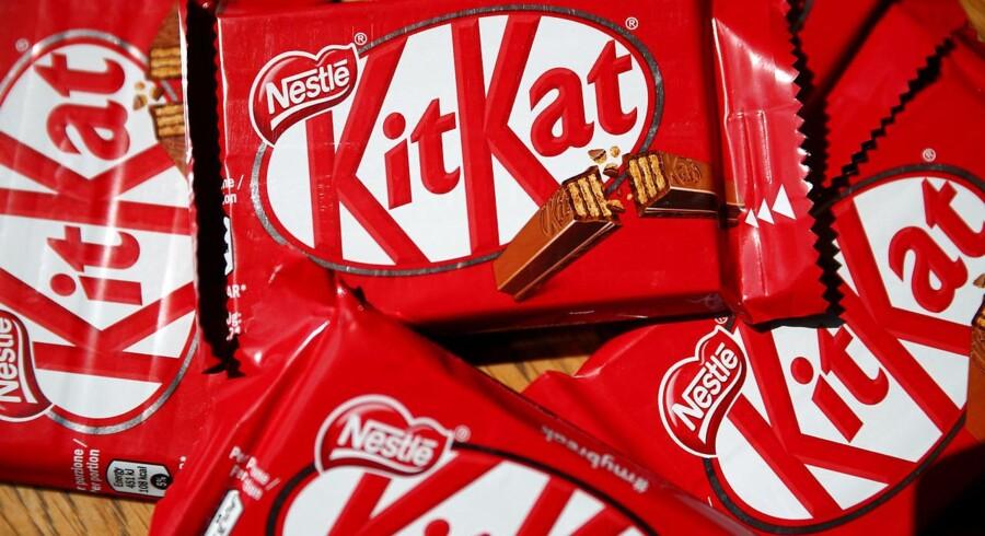 Kit-Kat chocoladebarer bliver produceret af nestlé. REUTERS/Hannah McKay/File Photo