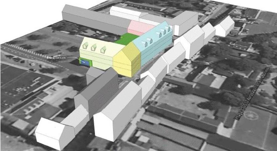 Sådan ser volumenstudiet for de nye butikker og boliger tæt på Roskilde centrum ud.
