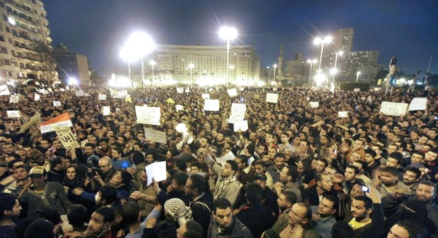 Egyptere samlet på Al Tahirpladsen i det centrale Cairo.