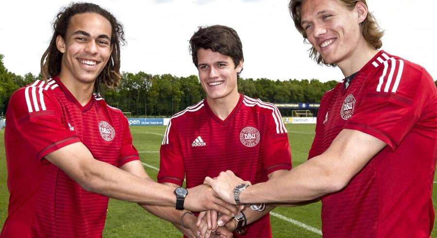 Udtagelse af U21 EM-truppen ved Brøndby Stadion. Yussuf Poulsen, Christian Nørgaard og Jannik Vestergaard.