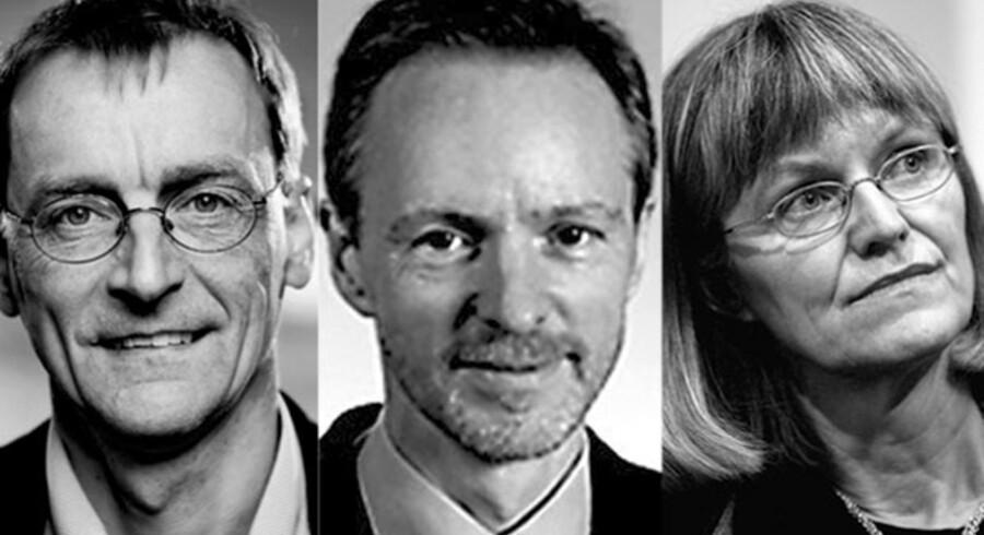 Torben M. Andersen,  økonomiprofessor ved Aarhus Universitet  og tidligere overvismand, Bo Sandemann  Rasmussen,  professor i økonomi, Aarhus Universitet og Nina Smith,  økonomiprofessor ved Aarhus Universitet  og tidligere vismand.