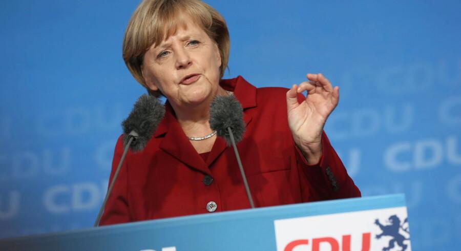 Angela Merkel taler ved et valgmøde i Fulda.