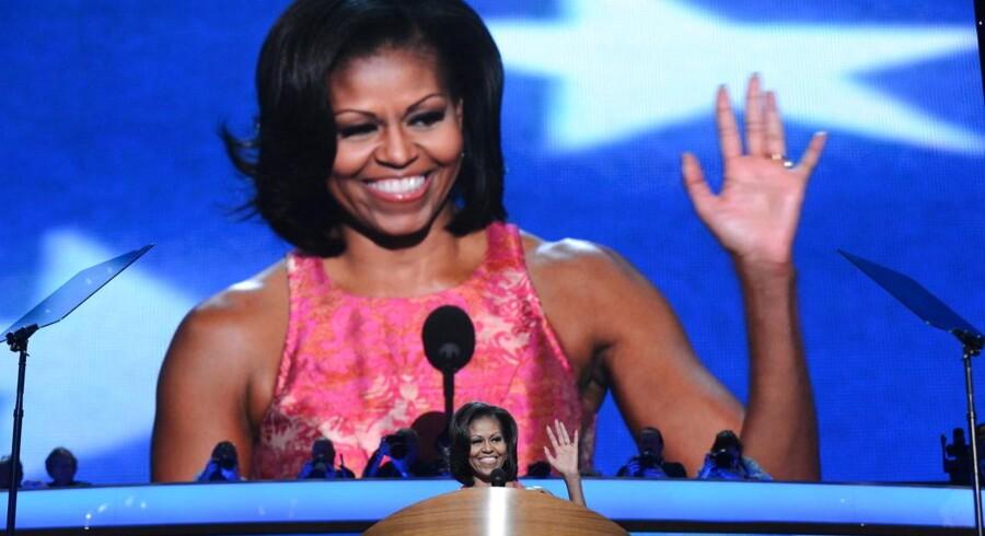 Fru Obama, Michelle Obama, på talerstolen på det demokratiske konvent.