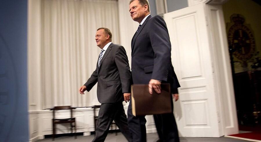 Lars Løkke Rasmussen og Lars Barfoed præsenterede regeringens nye vækstpakke tirsdag middag.