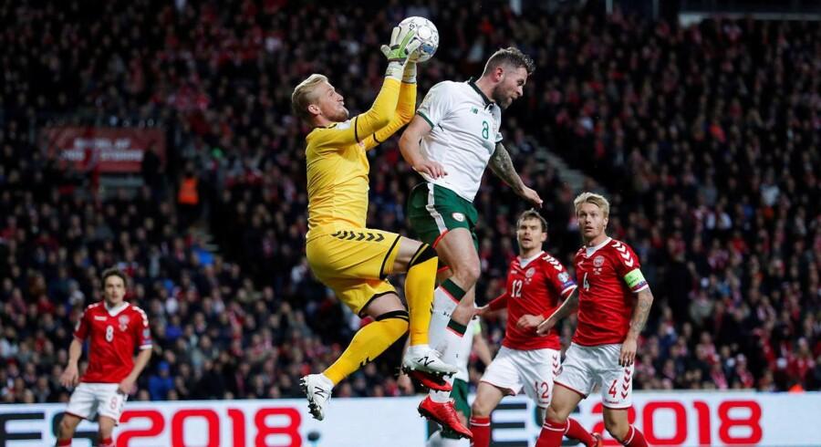 Billede fra lørdagens kamp mellem Danmark-Irland.