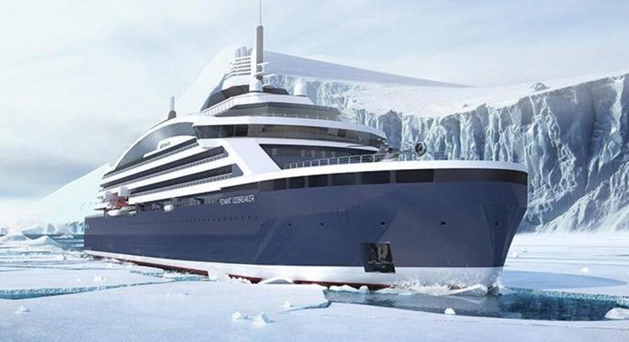 Verdens første isbrydende krydstogtskib er på vej. Skibet skal blandt andet sejle til Nordpolen. Foto: Stirling Design International