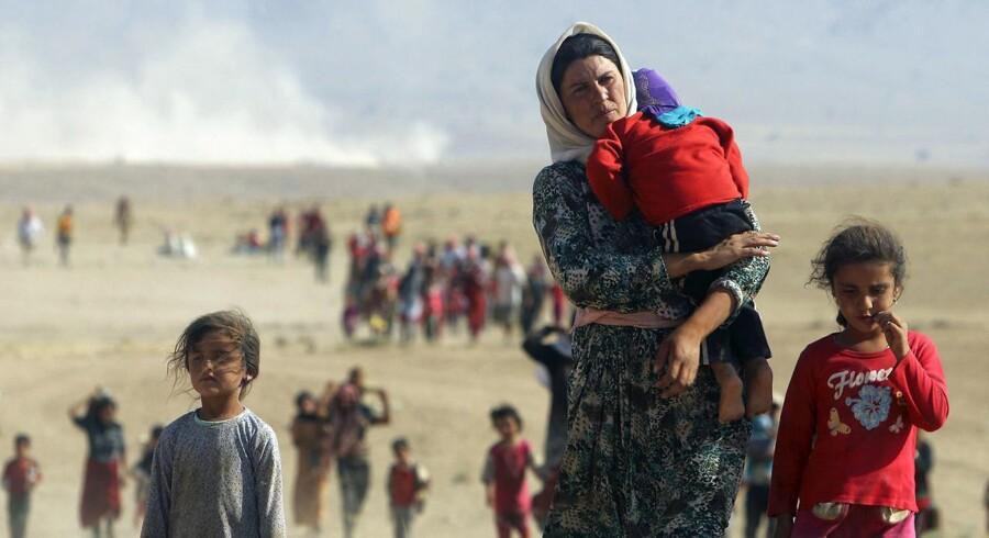 Islamisk Stat myrdede for tre år siden tusindvis af ezidier i det nordlige Irak – især mandlige ezidier blev dræbt. Kvinder blev oftest taget til fange som sexslaver, mens de heldigste kunne tage flugten og dermed undslippe Islamisk Stats krigere. Foto: Rodi Said/Reuters.