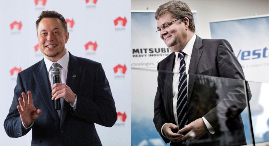 Teslas topchef, Elon Musk (tv.), og Vestas' topchef, Anders Runevad (th.), er gået sammen om at udvikle en løsning, der kan lagre vindenergi. Fotos: STRINGER/Scanpix 2017 (tv) og Thomas Lekfeldt