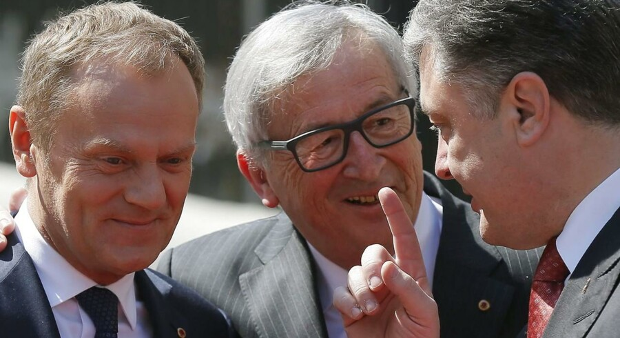 Donald Tusk, Jean-Claude Juncker og Petro Porosjenko under mødet i Kiev.