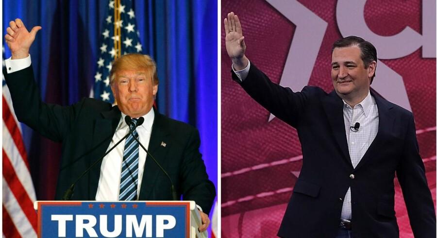 Den republikanske præsidentkandidat Donald Trump (t.v.) er vel nok den af kandidaterne, som partiledelsen helst ser kørt ud på et sidespor. Til gengæld er han umiddelbart fortsat den af partiets bud på en ny amerikansk præsident, som står stærkest i ræset mod at det endelige valg. Ved lørdagens valg satte den kontroversielle rigmand sig på to Kentucky og Louisiana, mens senator Ted Cruz, som heller ikke ligefrem er partiledelsens darling, fik flest stemmer i Kansas og Maine.
