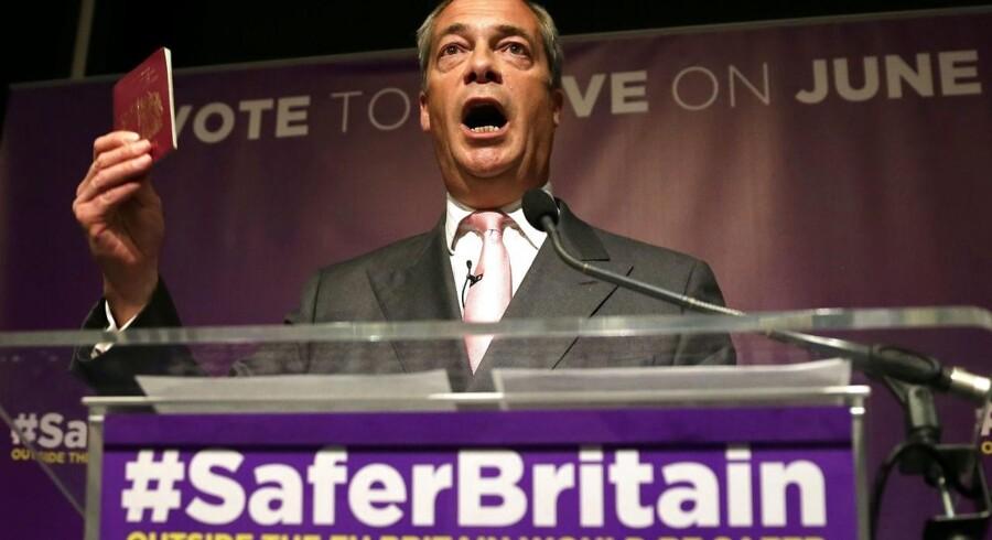 Lederen af UK Independence Party (UKIP), Nigel Farage, advokerer for, at Storbritannien skal forlade EU, hvilket er det aktuelt mest frygtede scenarie blandt verdens største investorer.