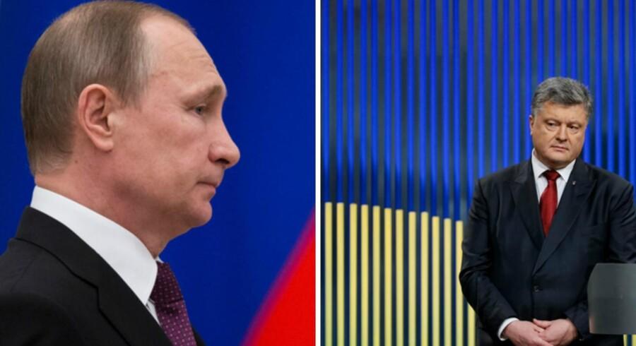 Ruslands præsident, Vladirmir Putin (tv.) og Ukraines præsident, Petro Porosjenko, har ikke meget sympati for hinanden. Nu er de to nabolandes ledere i et skæbnefællesskab efter det gigantiske skattelæk – forskellen er bare , at sagen allerede nu er stendød i Ruland, mens kritikken af Porosjenko vokser på den anden side af grænsen. Arkivfoto: Pavel Golovkin og Gleb Garanich