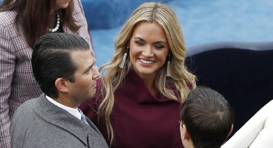Donald Trump Jrs. kone Vanessa Trump (der her ses med sin mand) var på visit i Danmark, hvor hun har familie. Visittet indebar også en frokost med statsminister Lars Løkke Rasmussen og kronprinseparret.