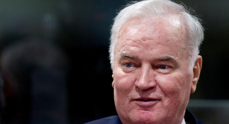 Arkivfoto: Ratko Mladic er ved domstol i Haag idømt livstid for folkedrab og andre krigsforbrydelser i Bosnien.