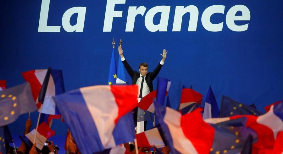 Emmanuel Macron vandt første runde af det franske præsidentvalg men får sin sag for, når Marine Le Pen de kommende uger udfordrer ham til værdikamp. REUTERS/Philippe Wojazer TPX IMAGES OF THE DAY