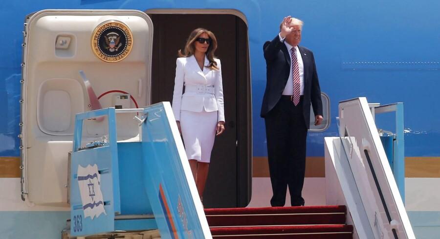 Amerikansk præsident Donald Trump og hans kone Melania Trump ankommer ved Ben Gurion-lufthavnen nær Tel Aviv.