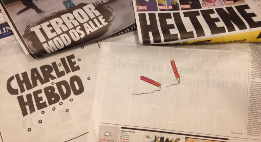 Danske aviser 8. januar 2015 efter angrebet mod satiremagasinet Charlie Hebdo i Paris. Free/Bettine Romme Andersen