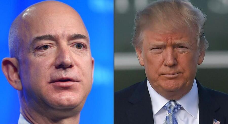 Jeff Bezos (tv.) og Donald Trump er formentlig ikke på julekort. Sidstnævnte skulle ifølge flere amerikanske medier være »besat« af tanken om at sætte en stopper for Amazons forretning.