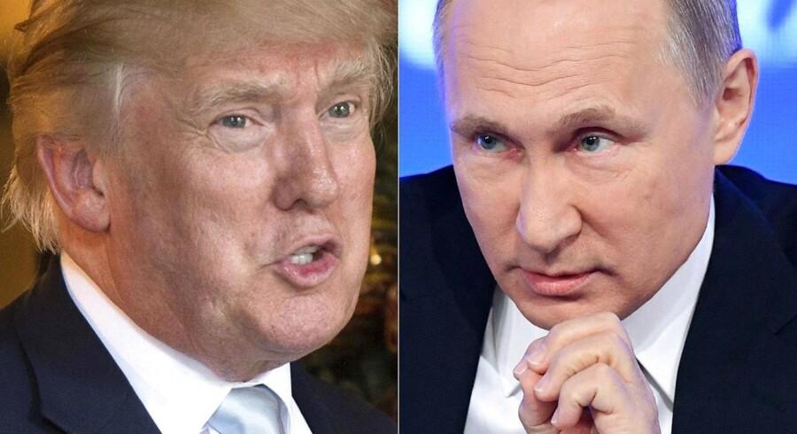 USA's præsident, Donald Trump, og den russiske præsident, Vladimir Putin, drøftede Syrien og Ukraine i en telefonsamtale lørdag. (Arkivfoto: DON EMMERT, NATALIA KOLESNIKOVA/Scanpix 2017)