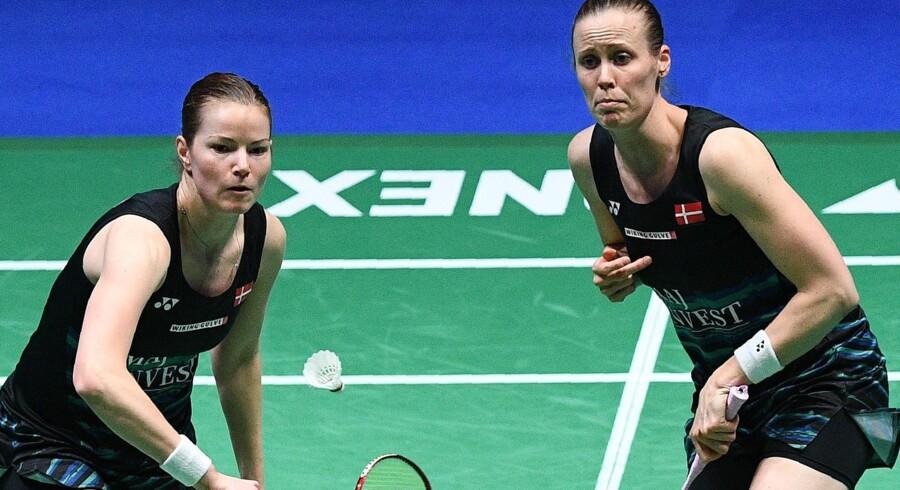 Christinna Pedersen (tv.) og Kamilla Rytter Juhl kunne ikke dæmme op for sydkoreanere i All England-finalen. Scanpix/Justin Tallis