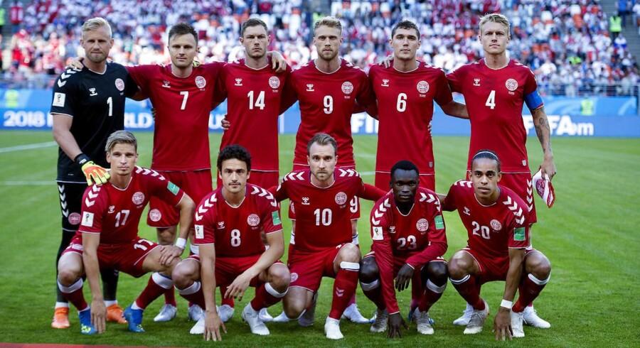 Landsholdet før kampen mellem Danmark-Peru på Mordovia Arena i Saransk , lørdag dag den 16 juni 2018. (Foto: Liselotte Sabroe/Ritzau Scanpix)