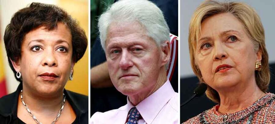 Fra venstre: USAs chefanklager og justitsminister Loretta Lynch, Bill Clinton og Hillary Clinton.